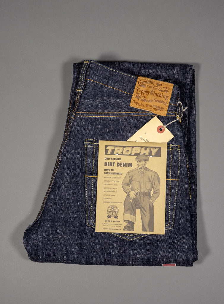 trophy clothing 1605 standard dirt denim japanese jeans tags