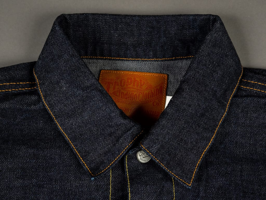 trophy clothing authentic type ii denim jacket collar