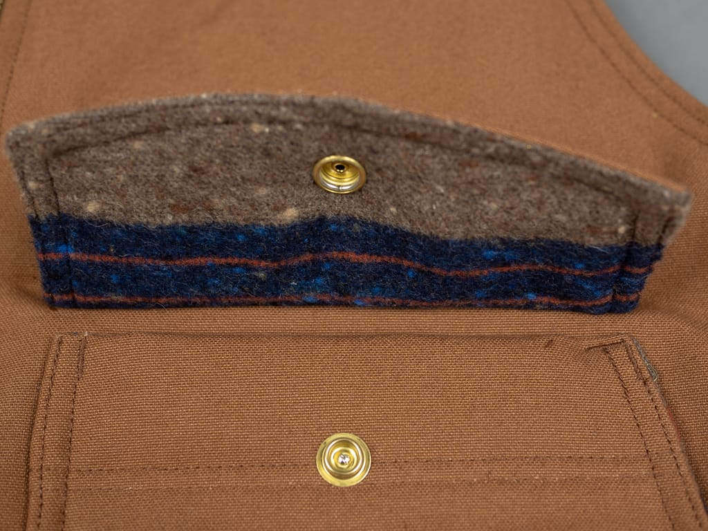 Trophy Clothing Oiled Duck Vest wool blanket interior pocket