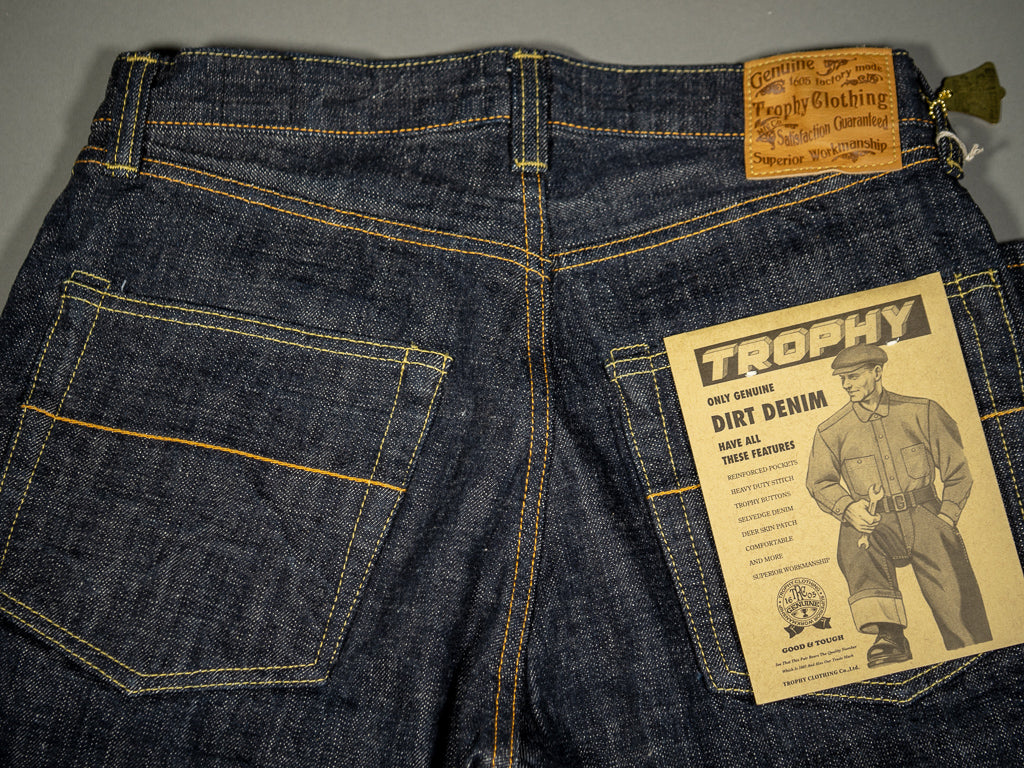 trophy clothing 1605 standard dirt denim japanese jeans back pockets