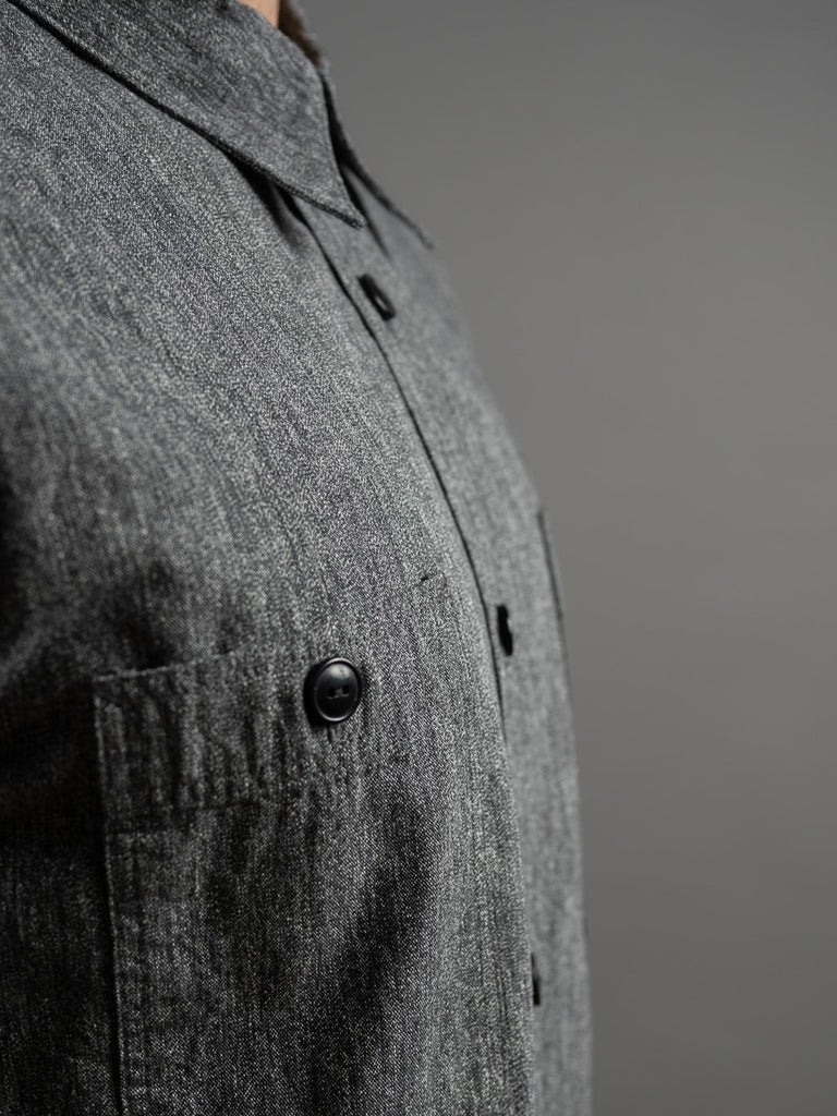 black contrast buttons of Trophy Clothing Utility Denim Shirt