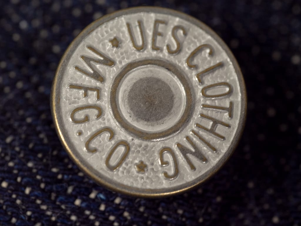 custom buttons of UES 400ST japanese selvedge Jeans