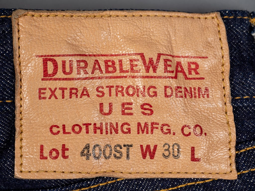 goat leather patch of UES 400ST japanese selvedge Jeans