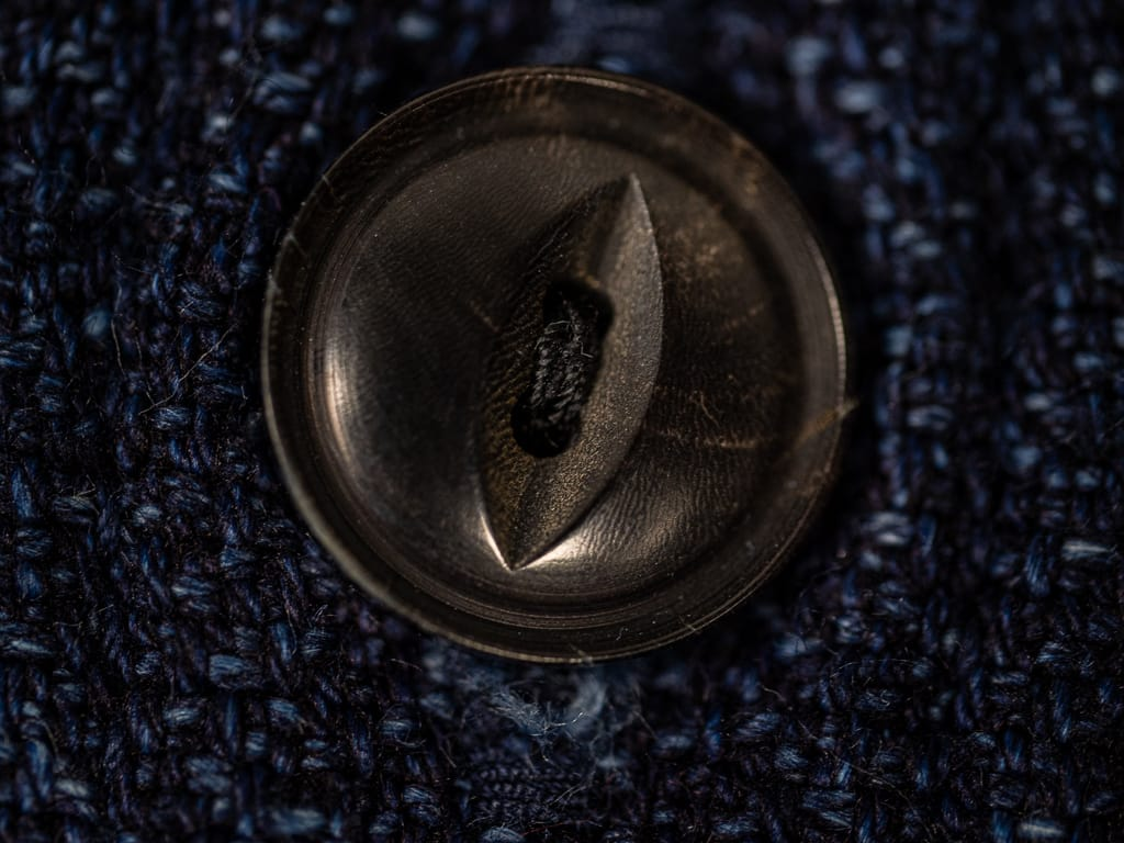 UES Indigo Extra Heavy Flannel Shirt button detail