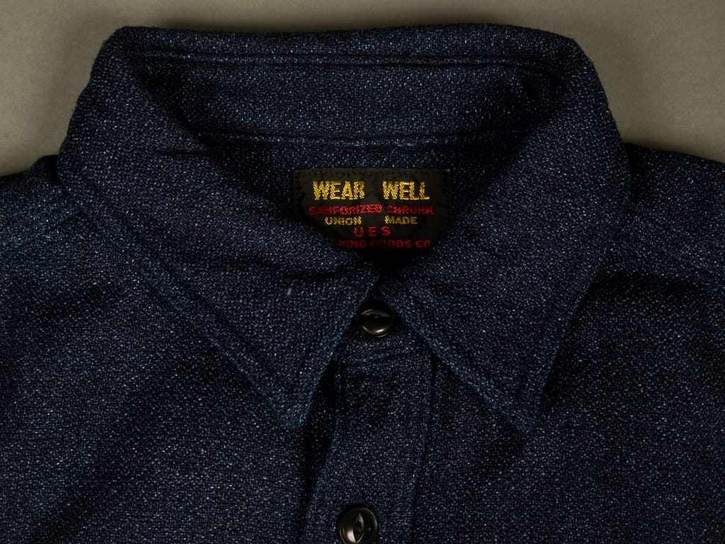 UES Indigo Extra Heavy Flannel Shirt collar
