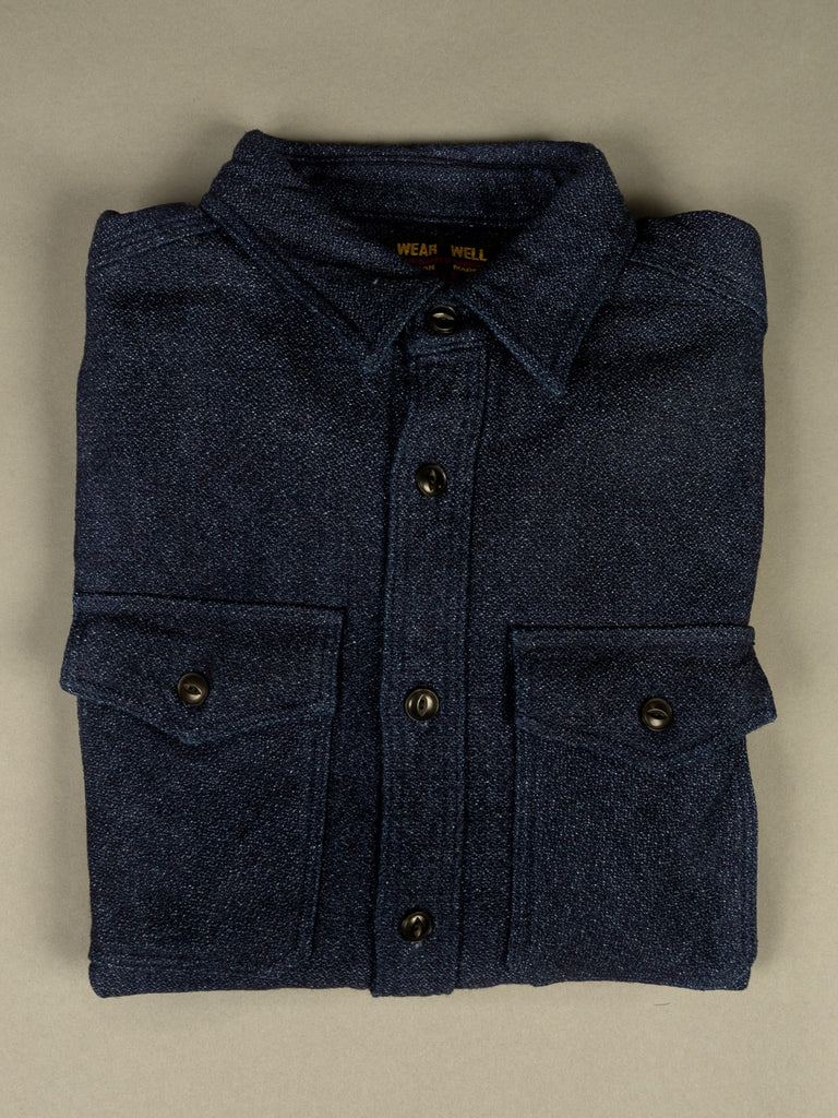 UES Indigo Extra Heavy Flannel Shirt pockets