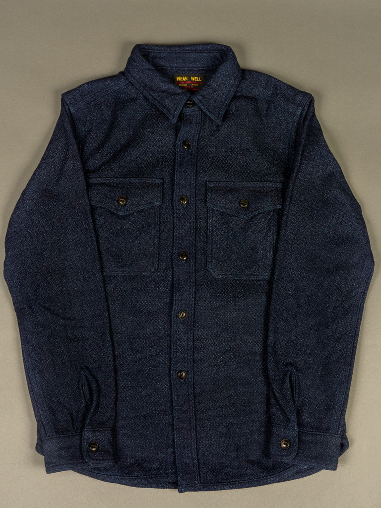 UES Indigo Extra Heavy Flannel Shirt front pockets