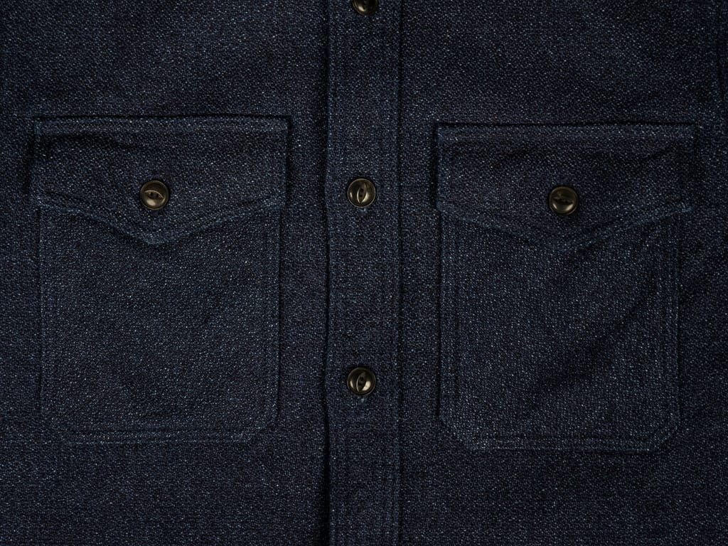 UES Indigo Extra Heavy Flannel Shirt buttons