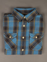UES Heavy Flannel Shirt Blue rounded chest pockets
