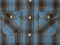 UES Heavy plaid Flannel Shirt Blue chest pockets