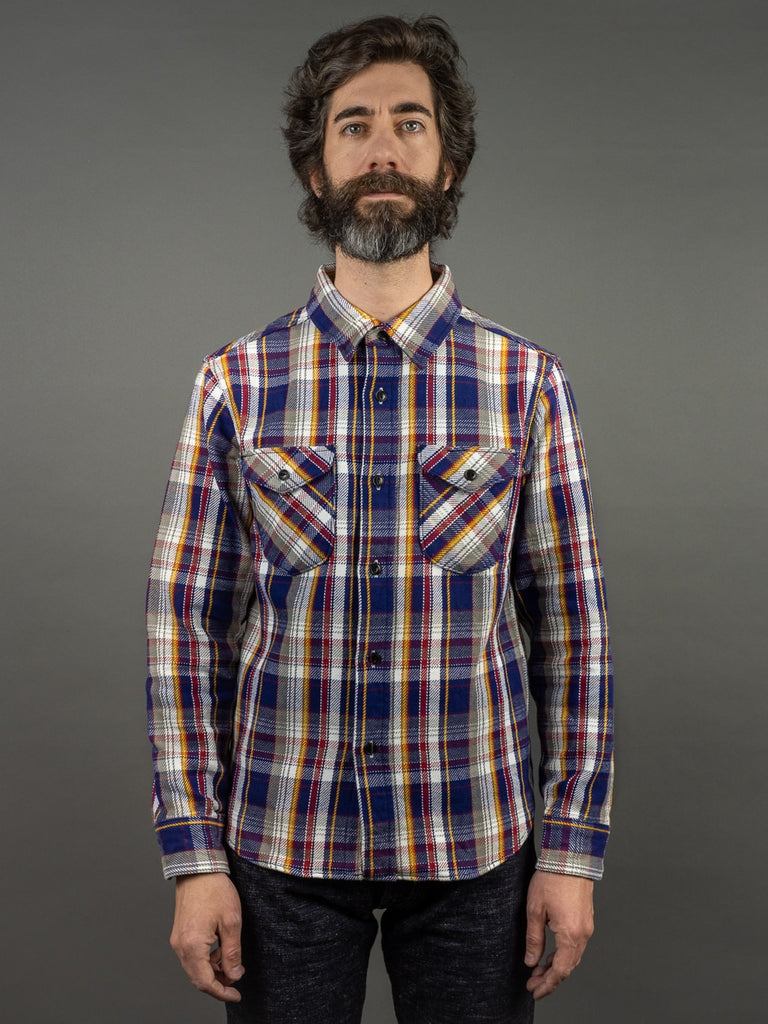 UES Heavy plaid Flannel Shirt Navy