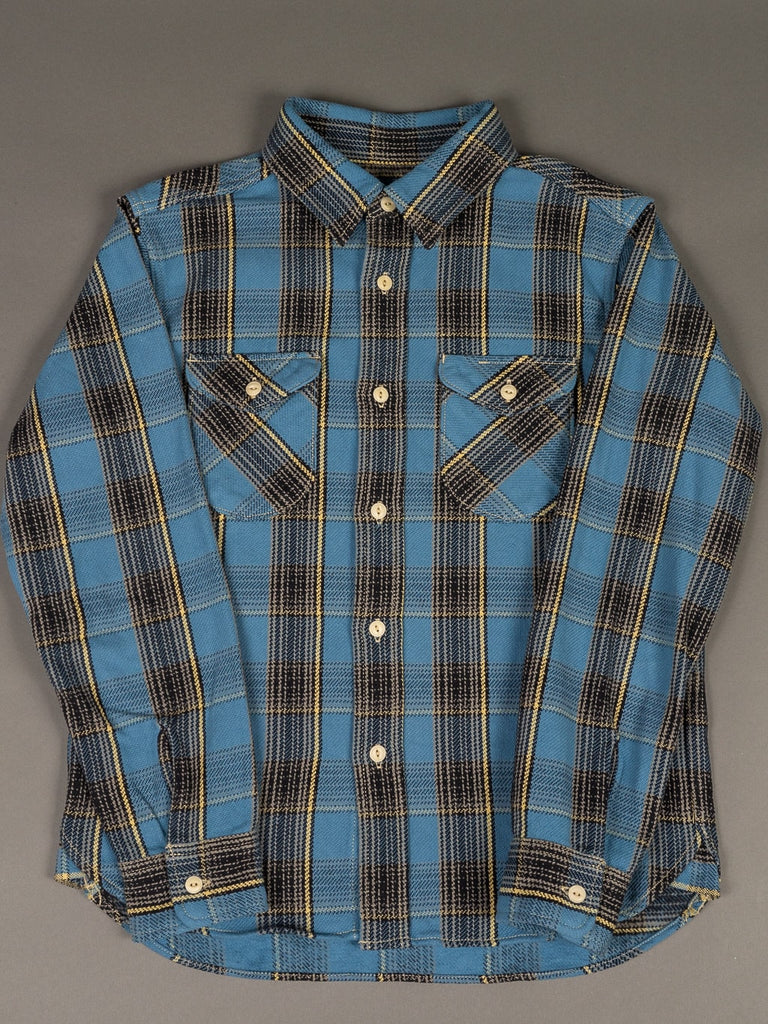 UES Heavy Flannel Shirt Blue front pockets