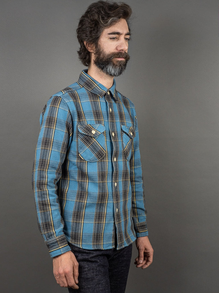 UES Heavy Flannel Shirt Blue front