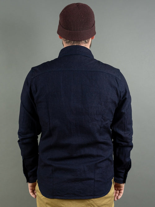 UES selvedge Indigo Heavy Flannel Shirt back