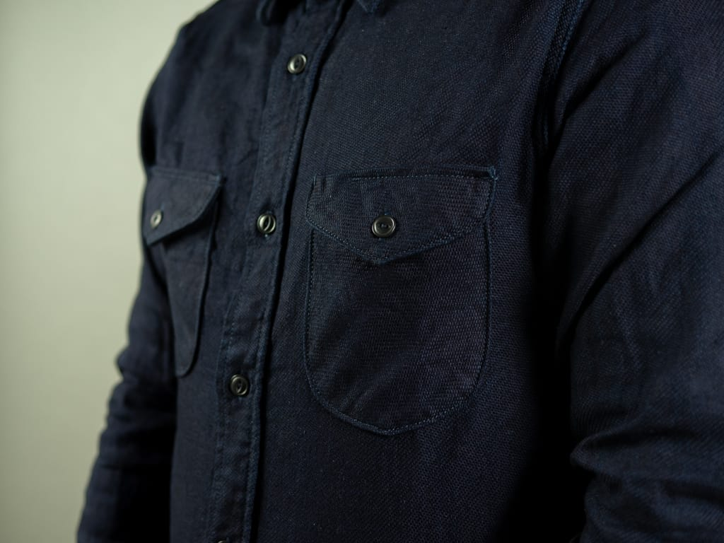 UES selvedge Indigo Heavy Flannel Shirt rounded chest pockets