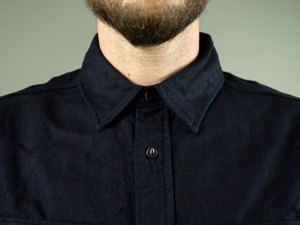 UES selvedge Indigo Heavy Flannel Shirt collar