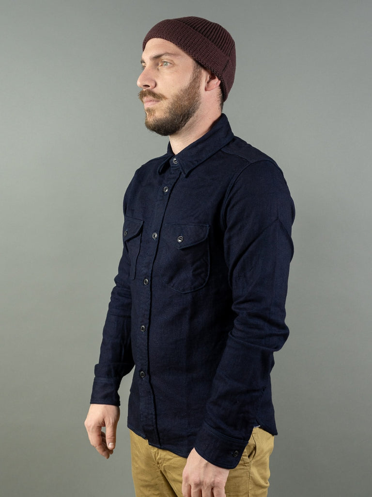 UES selvedge Indigo Heavy Flannel Shirt side