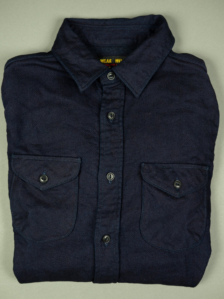 UES selvedge Indigo Heavy Flannel Shirt chest pockets