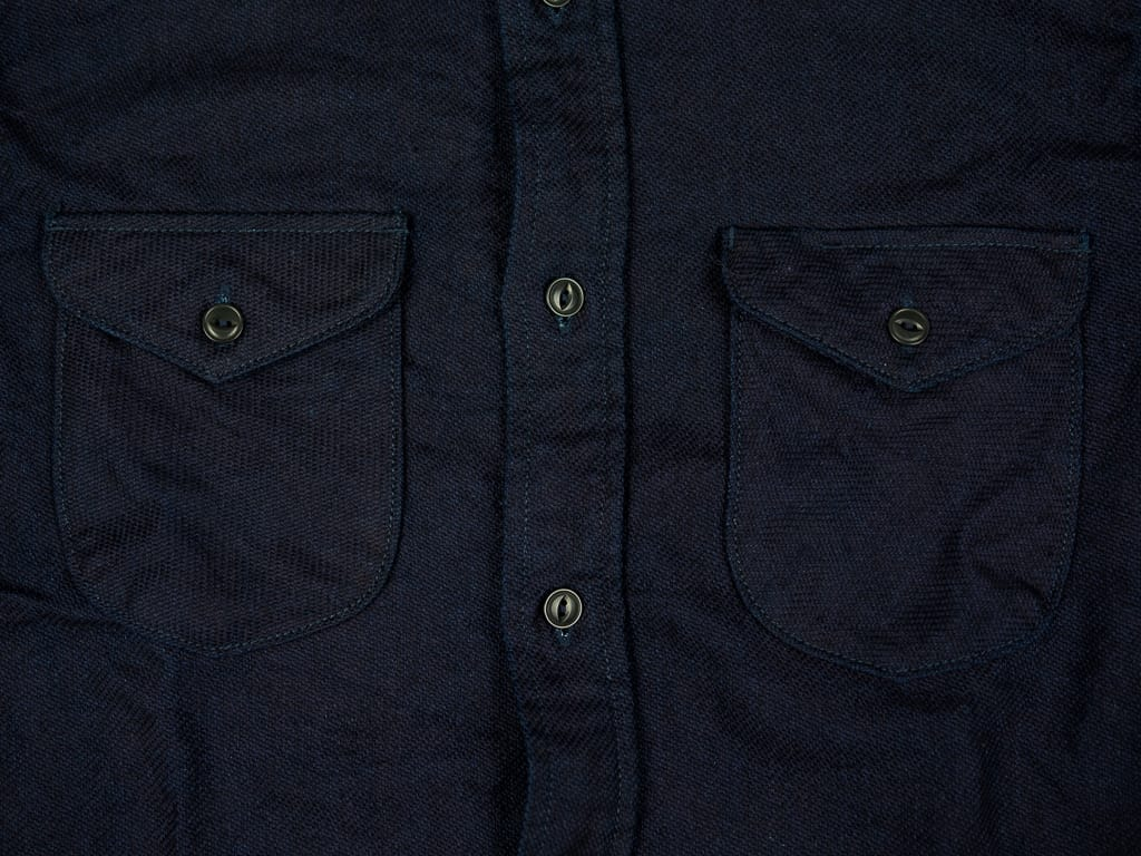 chest pockets of UES selvedge Indigo Heavy Flannel Shirt