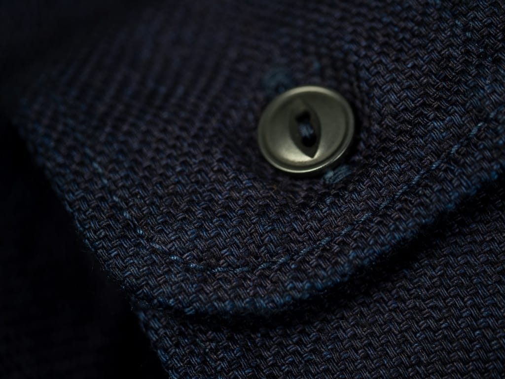 UES selvedge Indigo Flannel Shirt cuff palm nut button