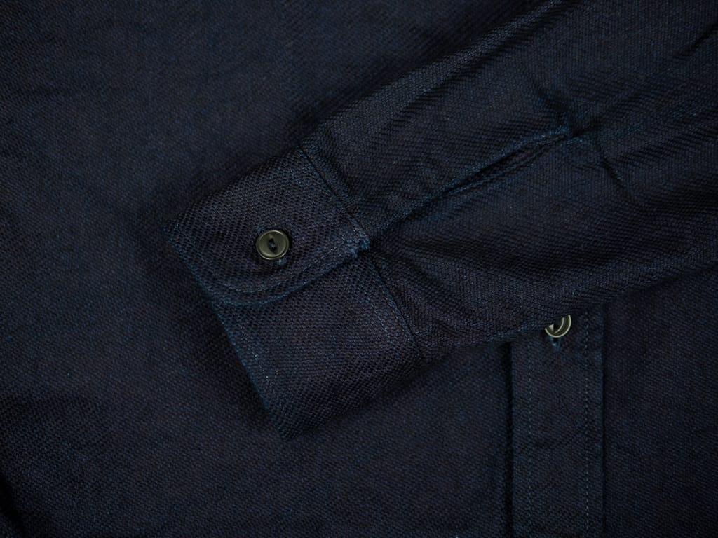 UES selvedge Indigo Heavy Flannel Shirt cuff