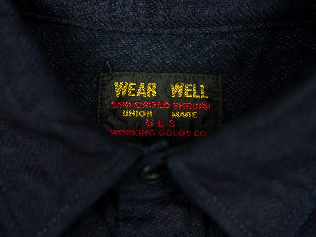 UES selvedge Indigo Heavy Flannel Shirt label