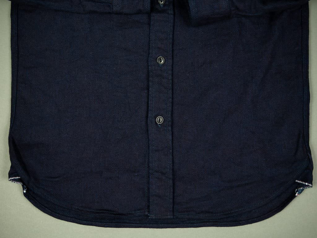 UES selvedge Indigo Heavy Flannel Shirt rolled hem
