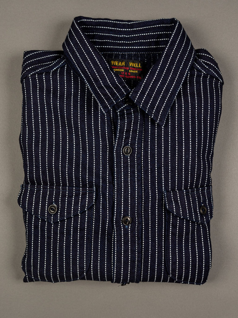 UES Indigo Stripe Heavy Flannel Shirt cotton