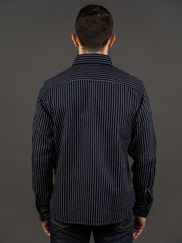 UES Indigo Stripe Heavy Flannel Shirt back