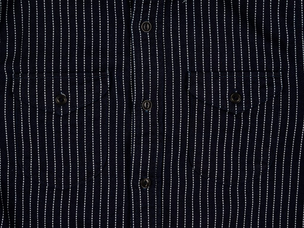 UES Indigo Stripe Heavy Flannel Shirt pockets