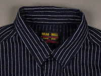 UES Indigo Stripe Heavy Flannel Shirt collar