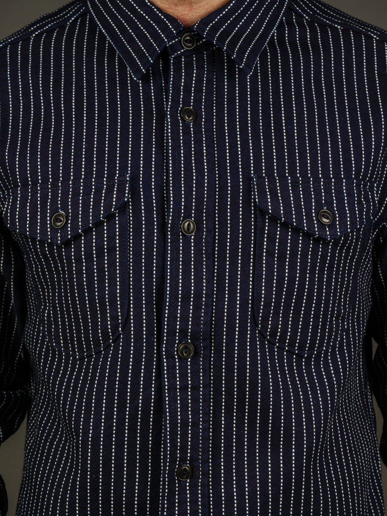 UES Indigo Stripe Heavy Flannel Shirt chest pockets