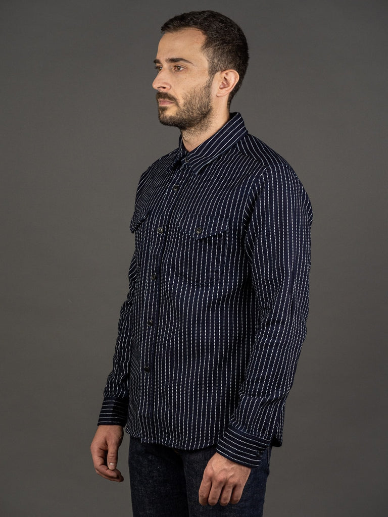 UES Indigo Stripe Heavy Flannel Shirt side