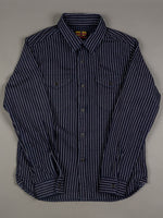 UES Indigo Stripe Heavy Flannel Shirt slim fit