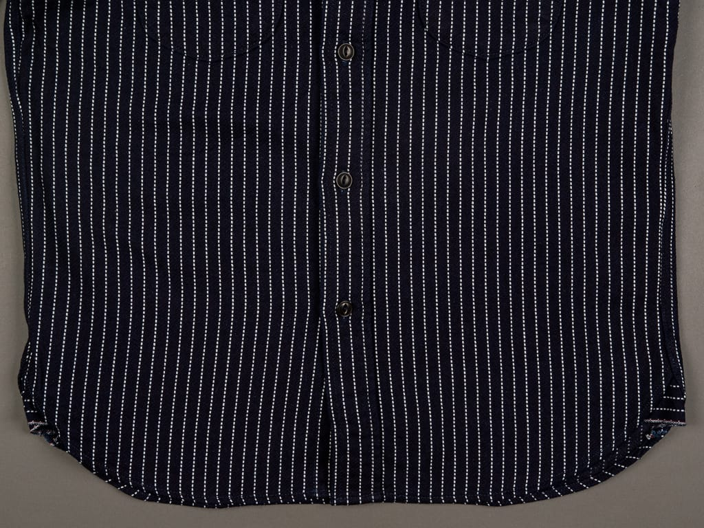 UES Indigo Stripe Heavy Flannel Shirt waist