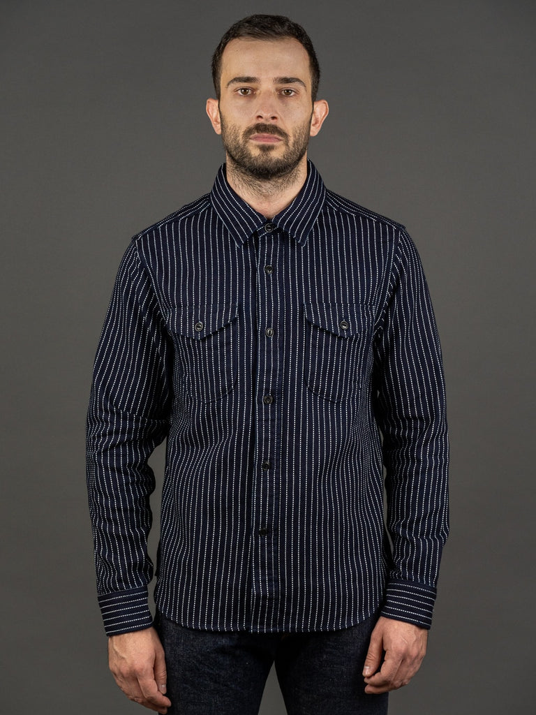 UES Indigo Stripe Heavy Flannel Shirt