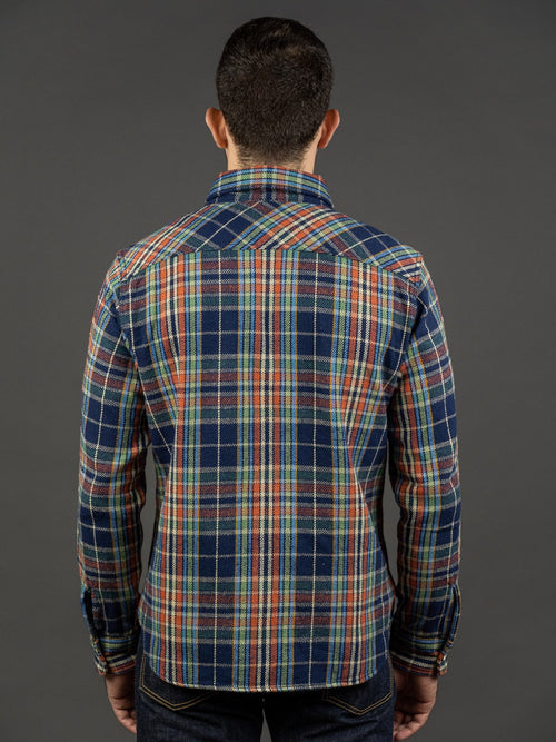 UES Heavy Flannel Shirt Navy/Green back