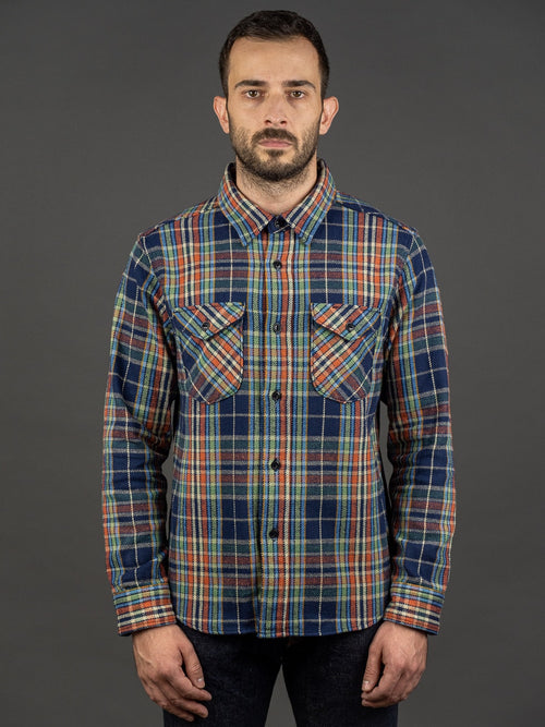 UES Heavy Flannel Shirt Navy/Green front