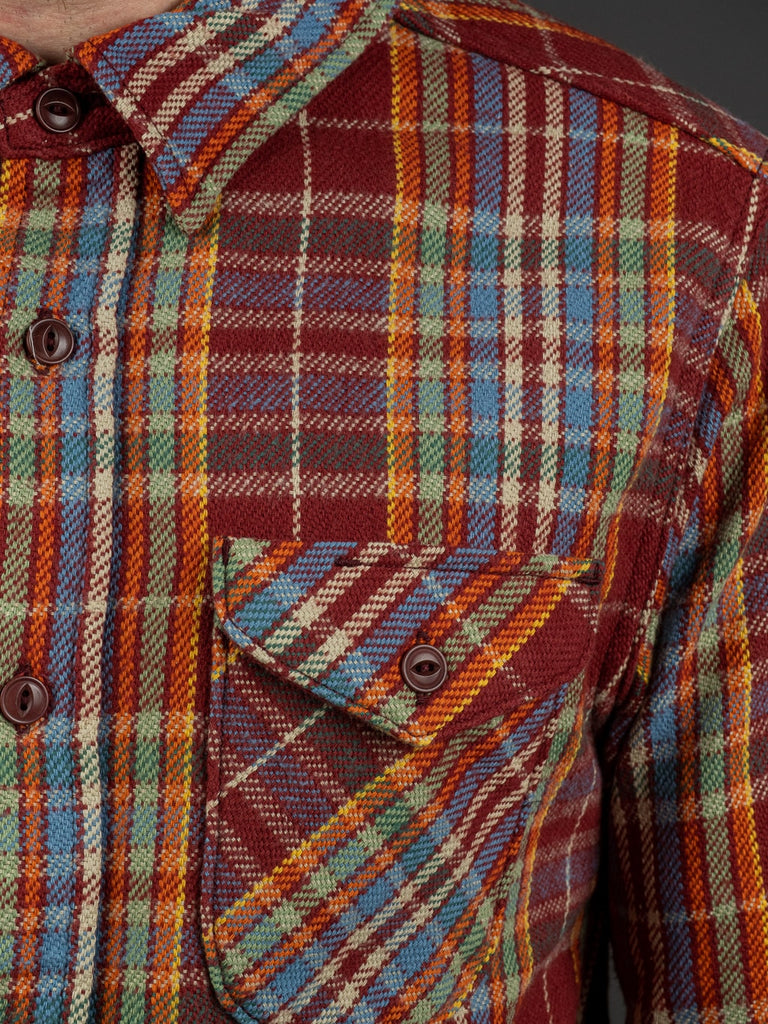 UES Heavy Flannel Shirt Red/Orange pocket