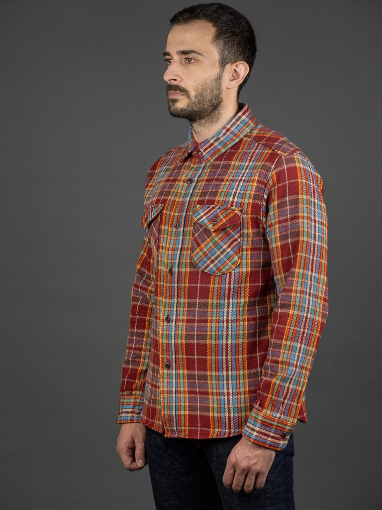 UES Heavy Flannel Shirt Red/Orange side