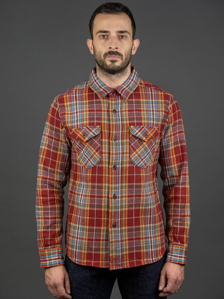 UES Heavy Flannel Shirt Red/Orange