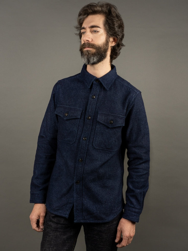 UES Indigo Extra Heavy Flannel Shirt front