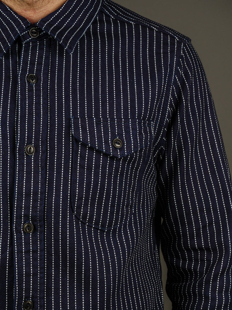 UES Indigo Stripe Heavy Flannel Shirt pocket