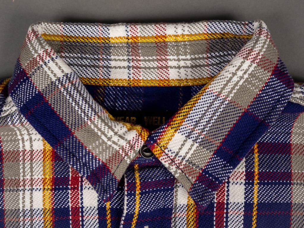 UES Heavy Flannel Shirt Navy collar detail