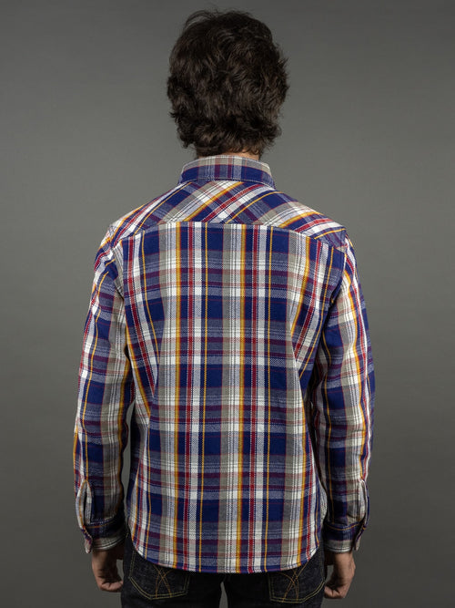 UES Heavy Flannel Shirt Navy back