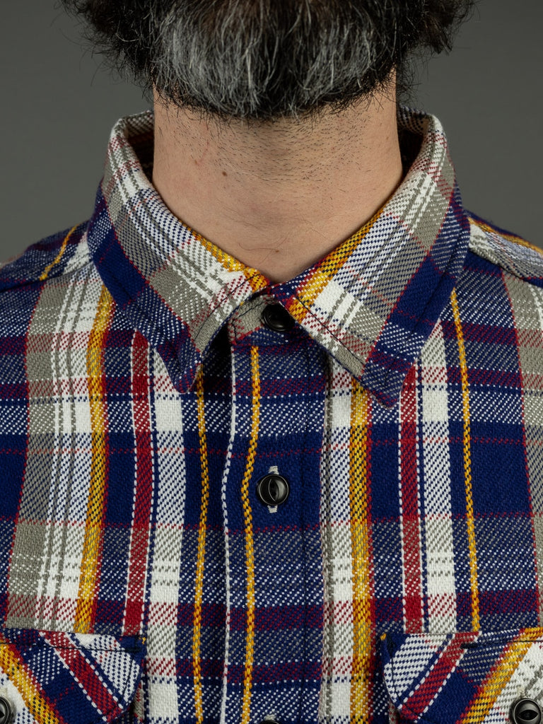UES Heavy plaid Flannel Shirt Navy collar