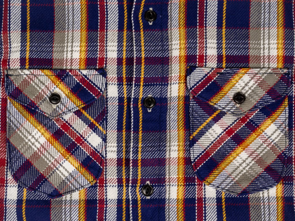 UES Heavy Flannel Shirt Navy rounded chest pockets