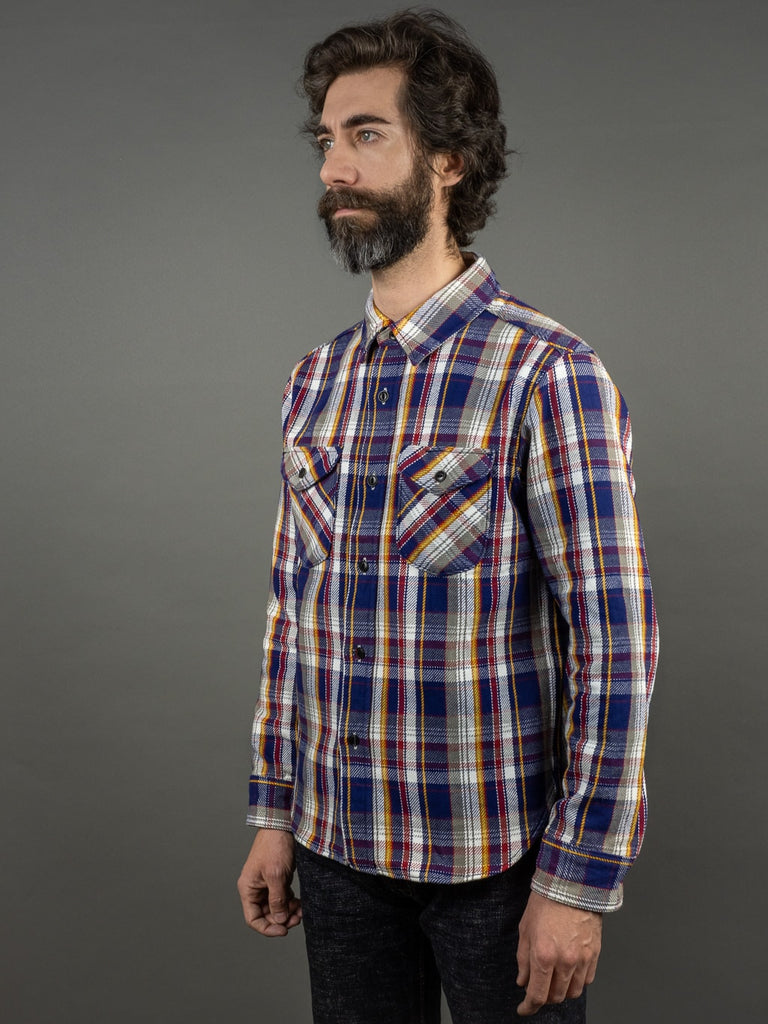 UES Heavy Flannel Shirt Navy side