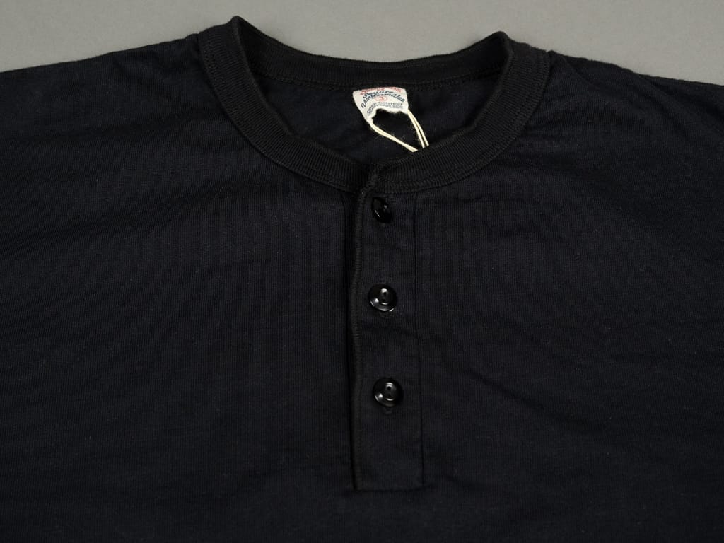 UES Ramayana Henley Neck T-Shirt Black buttons
