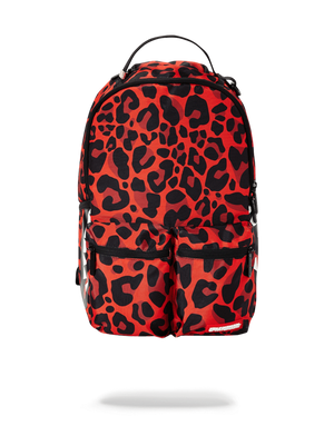 SPRAYGROUND B2418 Red Leopard Double Side Cargo  Designers Closet
